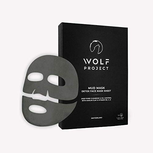 Wolf Project Men's Mud Mask Sheet For Face Pore Cleaner and Oil Control - Clarifying, Blackhead Removing, Korean Face Mask with Vitamin B3, C, E, 200 g