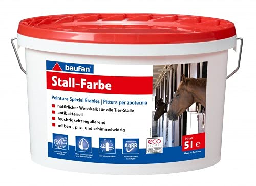 Hühnerstallfarbe Stallfarbe von Baufan Öko 5 Liter für alle Tierställe Pferdestall Hühnerstall Taubenstall Geflügelstall für ca. 30 Quadratmeter