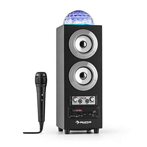 auna - DiscoStar Silver, 2.1 Bluetooth-Lautsprecher, LED-Lichteffekte, Radio, UKW-Radiotuner, 30 Speicherplätze, MP3, SD, USB, Mini-USB, AUX, Mikrofon, schwarz-Silber