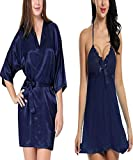 SLKS Women's Satin & Net Solid Above Knee Sleep Robe And Babydoll