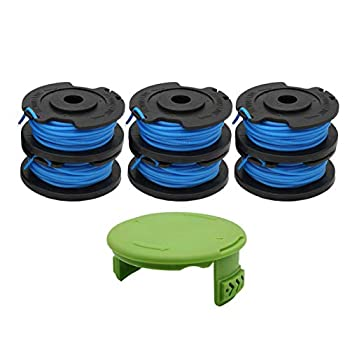 """RONGJU 6 Pack Weed Eater Spool for Greenworks 21332 21342 24V 40V 80V Cordless Trimmer 16ft 0.065"""" Single Line String Trimmer Replacement Spool 29252 with 3411546A-6 Spool Cap Covers  6 Spools 1 Cap"""