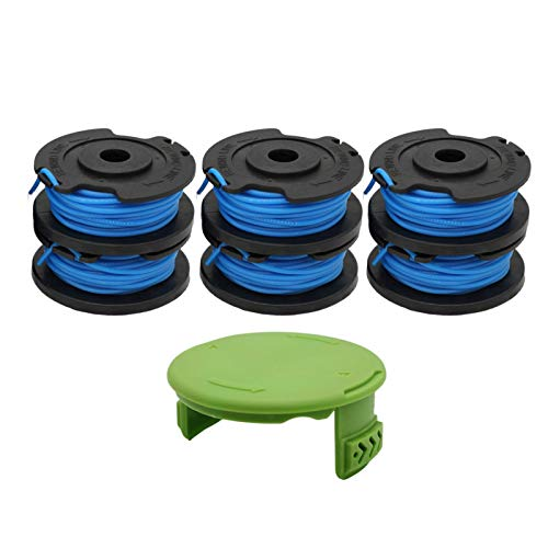 """RONGJU 6 Pack Weed Eater Spool for Greenworks 21332 21342 24V 40V 80V Cordless Trimmer 16ft 0.065"""" Single Line String Trimmer Replacement Spool 29252 with 3411546A-6 Spool Cap Covers (6 Spools, 1 Cap)"""