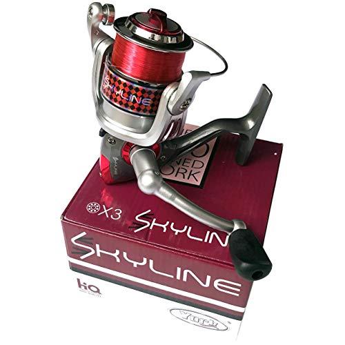 York Fishing Angelrolle Skyline FD 3000 Frontbremse Stationärrolle bespult mit Schnur Sehne
