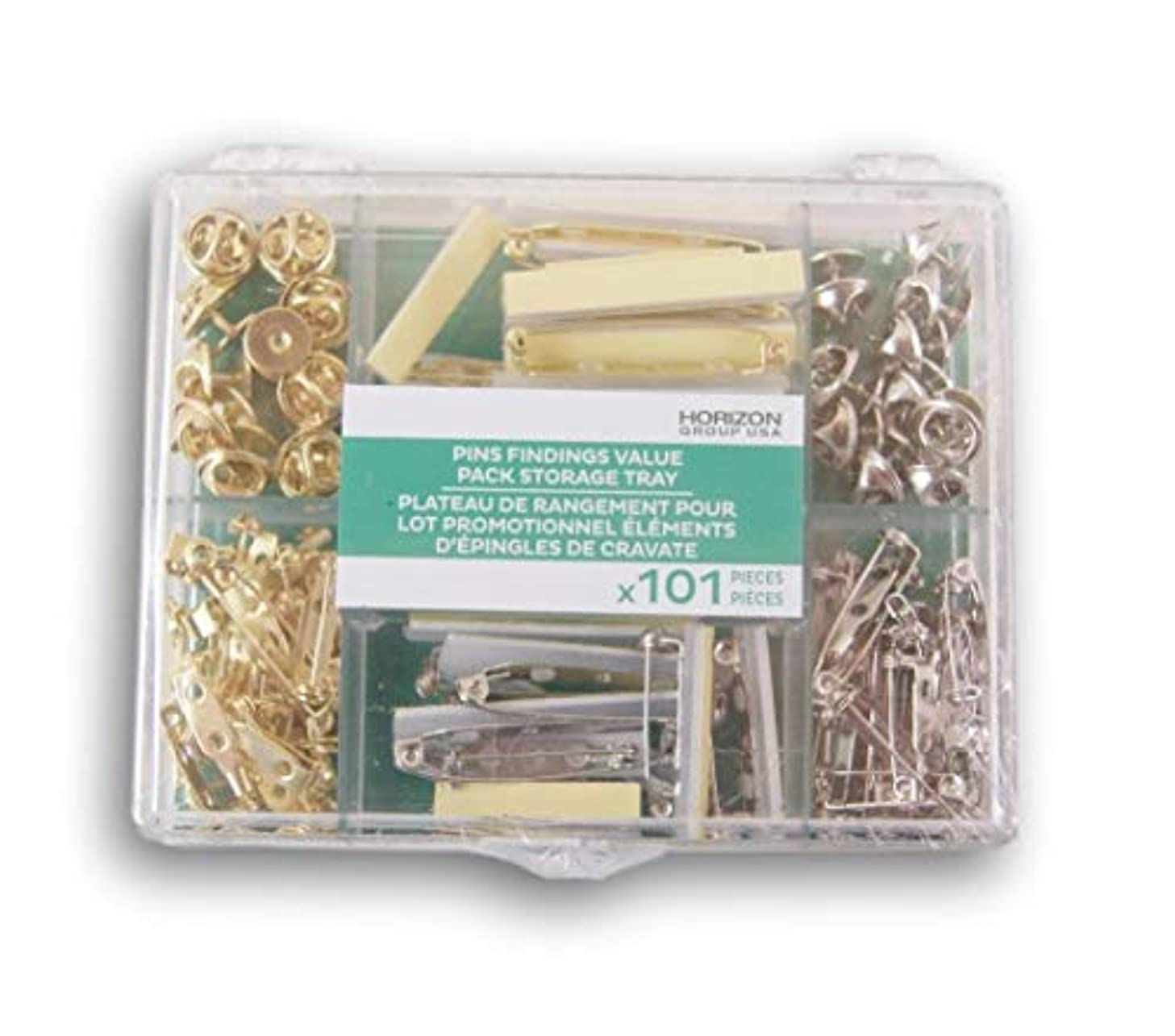 Pin Findings Pin Making Assortment Pack with Storage Tray - 101 Pieces