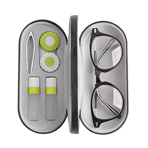 2 in 1 Double Use Portable Glasses Case Set Compatible with Contact Lens and Eyeglasses Case