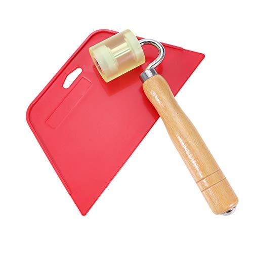 DOITOOL Tapeten-Werkzeug zum Glätten von Tapeten mit Flachnaht für Tapetenwerkzeug, Vinyl, Kleber für Kontaktpapier (1 Rolle und 1 Rakel)