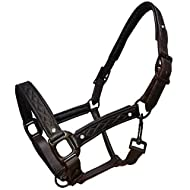 White Horse Equestrian Shetland - Extra Full Soft Leather Halter Diamante Stable Yard Padded Adjustable Headcollar Sold Seperately