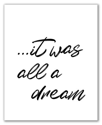 "It Was All A Dream Print - 8"" x 10"" - Unframed, Wall Art, Dream Sign, Motivational Art, Home Décor, Bedroom Wall Art, Bedroom Décor, Typography Art"