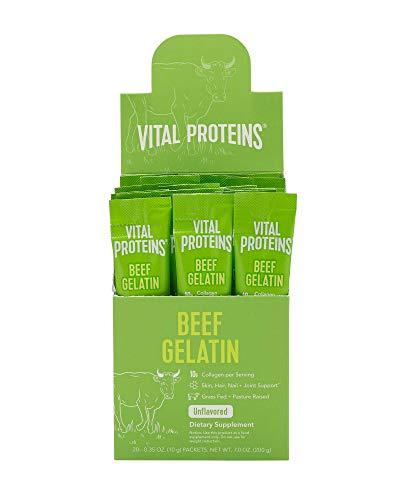 Vital Proteins Beef Gelatin Powder, Pasture-Raised, Grass-Fed Beef Collagen Protein Supplement with Proline & Hydroxyproline, Non-GMO, Gluten & Dairy & Sugar Free, Whole30 Approved - 20ct per Box