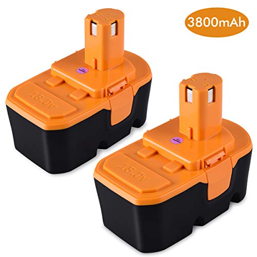 2 Pack 3800mAh Ryobi 18v Battery Replacement Compatible with Ryobi ONE+ Cordless Power Tools Replacement Battery for Ryobi P100 P101 ABP1801 ABP1803 BPP1820 and so on 18v Battery