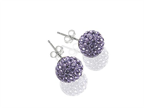 Creative-Beads Ohrstecker 8mm Sterlingsilber, modische Farben Glitzerkugel, Diamondballs, Strass, , lila