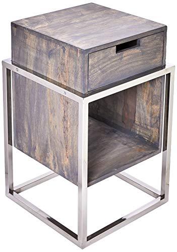 Better & Best 3105033 design nachtkastje met lade en legplank, hout, grijs gebeitst, metalen poten