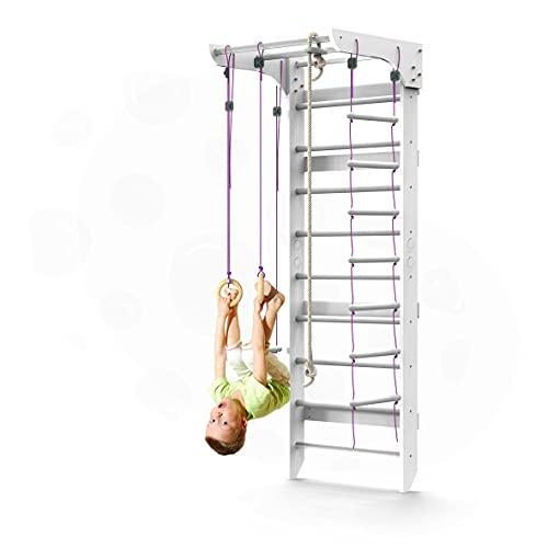 WEDANTA Wooden Swedish Ladder Wall Set – Kids Stall Bars for Exercise – Kids Swedish Gymnastic Wall Gym – Wood Stall Bar Gymnastics Playground – Best Gym for All Family - Kinder-2