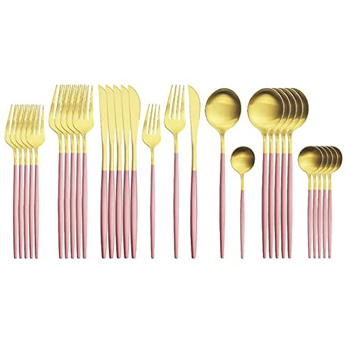 Pink Gold Cutlery Set Matte Stainless Steel Dinnerware Knives Dessert Fork Spoon Tableware Kitchen Flatware Silverware Set