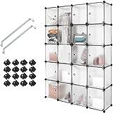 N/Z Home Equipment Armario de Armario de plástico con Enclavamiento portátil Organizador de Almacenamiento de Cubo Transparente para ng Armario Modular para Ropa, Libros, Zapatos (20 Cubos)