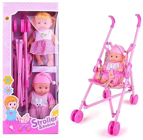 RVM Toys Kids Baby Stroller with 2 Dolls Easily Foldable Baby Pram Trolley for Girls 55 cm Pink (2 Dolls with Pink Stroller)
