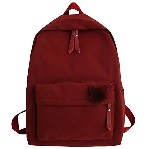 NVT Backpack Women School Bag Girl Waterproof Nylon Backpack Ladies Student Bags Book Harajuku,red,L30cmW12cmH40cm