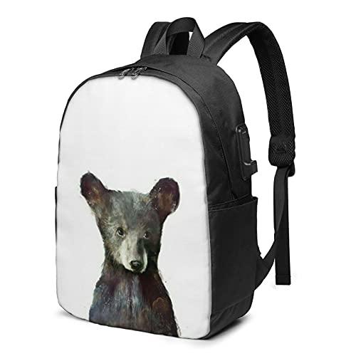 BYTKMFD Mochila de viaje con patrón de oso para ordenador portátil, para hombre y mujer, extra grande, antirrobo, mochila escolar con puerto de carga USB de 17 pulgadas, Negro, Talla única