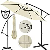Kesser® Alu Ampelschirm Ø 350 cm mit Kurbelvorrichtung UV-Schutz Aluminium Wasserabweisende Bespannung - Sonnenschirm Schirm Gartenschirm Marktschirm Beige