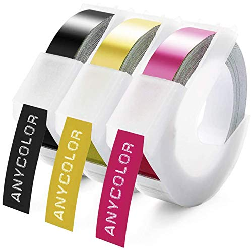 Anycolor Compatible Label Replacement for Dymo 3D Embossing Plastic Label Tape, Adhesive Vinyl Embossing Labels Refill for Dymo Omega Home Embossing Label Maker Junior Motex E-101 E-303, 9mm x 3m