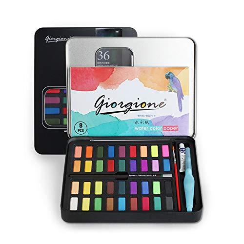 CARYWON Pintura de Acuarela de 36 Colores Vivos, Kit de Acuarela Profesional de Gouache con Pincel de Agua para Pintura, diseño artístico y Juegos de Regalo