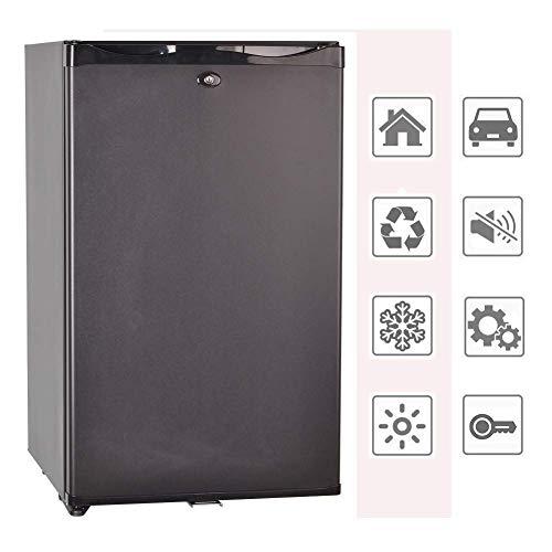 Smad Mini-Kühlschrank 12V und 220V Minibar Absorption Kühlschrank für Camping Wohnmobil RV Auto Büro Hotel Klein Kühlschrank mit Schloss Lautlos Leise Schwarz 50L