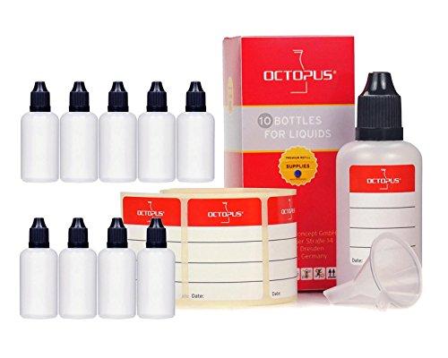 10 x 50 ml Liquidflaschen mit Trichter + Messbecher + Etiketten, z.B. für E-Liquids + E-Zigaretten, LDPE Plastikflaschen, Liquid Dosierflaschen, Tropfflaschen bzw. Quetschflaschen + schwarze Deckel