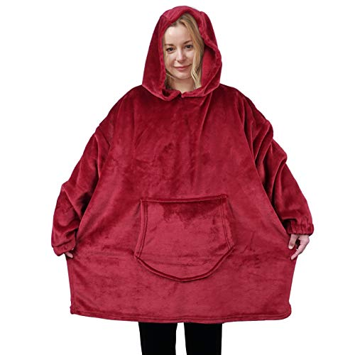 softan Flanelowa polarowa bluza z kapturem koc do noszenia super miękki ciepły przytulny ogromna bluza z kapturem duża przednia kieszeń jeden rozmiar dla wszystkich, wino