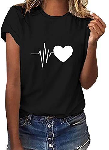 heekpek Camisetas Mujer Verano Manga Corta Casual Camiseta Holgada con Estampado de Amor y Labios T-Shirt Mujer Short Sleeve Shirt