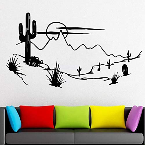 wZUN Desert Plant Cactus Wall Decal Artist Home Decoration Living Room Bedroom Mountain Sun Sticker Movable 91X50cm