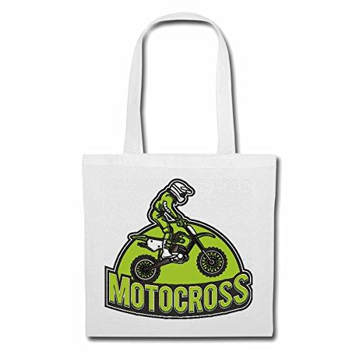 Reifen-Markt Tasche Umhängetasche MOTOCROSS SILHOUETTE 125CCM MOTO-CROSS FREESTYLE MOTOCROSS MOTORRAD SPORT BEKLEIDUNG BIKER MOTORRAD BIKE MASCHINE Einkaufstasche Schulbeutel Turnbeutel in Weiß