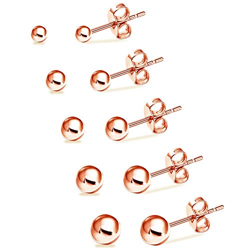 UHIBROS Hypoallergenic Studs Earrings 316L Surgical Stainless Steel Round Ball Earring 5 Pairs Assorted Sizes(4mm-8mm)