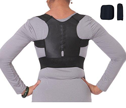 Corset ortopédico, corrector postural, faja lumbar para dolores de espalda, para hombre y mujer. Color negro y blanco, talla S hasta XXL 60cm hasta 110 cm de contorno de pecho ✅