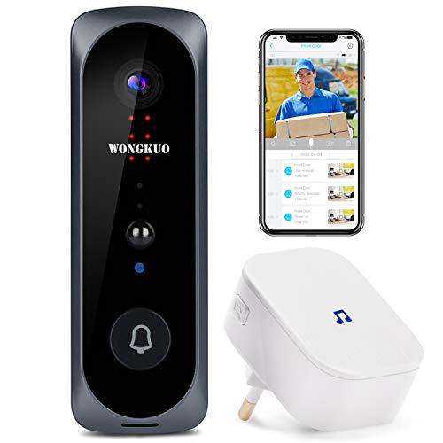Video Doorbell WONGKUO Wireless Video Doorbell Camera HD 166° Security Smart WiFi Doorbells with...