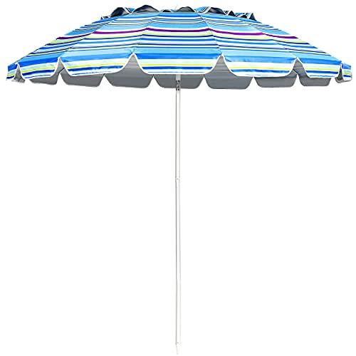 COSTWAY Ombrellone da Spiaggia 2,43 m, Ombrellone Portabile da Esterno con Borsa di Trasporto, con Protezione Solare, Ideale per Spiaggia, Balcone, Giardino (Blu)
