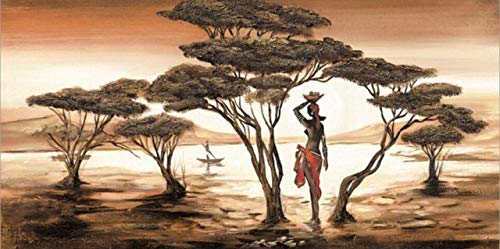 Afrikanische Landschaft Leinwand Kunstdruck. Afrikanisches Tänzerwandbild am See. Rahmenloses dekoratives Gemälde auf der Leinwand an der Wohnzimmerwand Z10 70x100cm