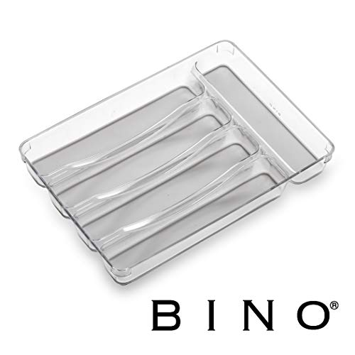 BINO 5-Slot Silverware Organizer Light Grey - Utensil Drawer Organizer with Soft Grip Lining