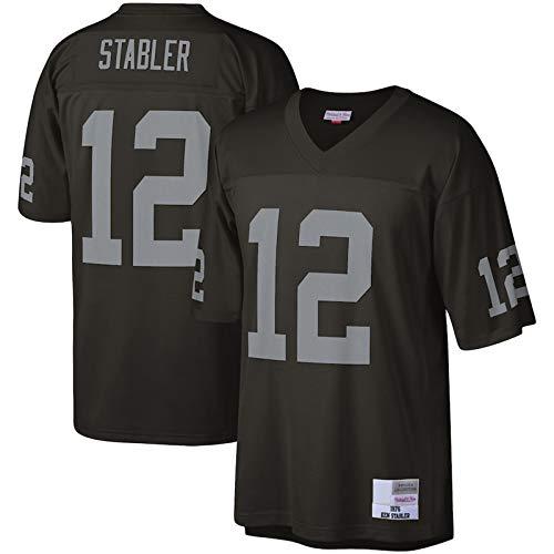 WEVB Camiseta de fútbol americano al aire libre con réplica del legado n.º 12 sudadera transpirable para hombre, color negro