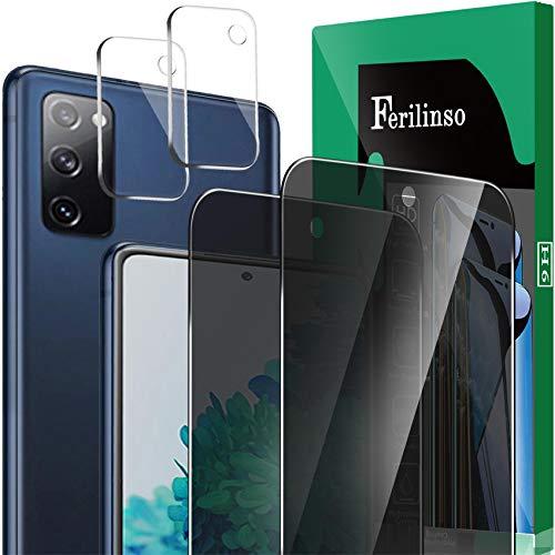 Ferilinso - Pack de 2 protectores de pantalla de privacidad + 2 protectores de lente de cámara para Samsung Galaxy S20 FE [HD] [vidrio templado] [amigable con fundas] [antihuellas] [fácil instalación]