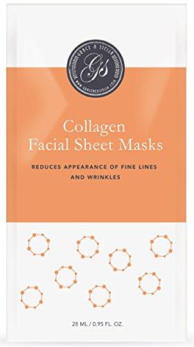Collagen Facial Sheet Masks (Set of 6) - for Anti Aging & Wrinkle Treatment - Best Alternative to Korean Masks
