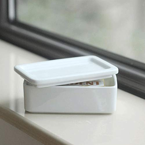 Hand Made Rectangular Butter Container with a Lid. a White Butter Dish with Butter, Cheese and Cake Snacks. It Is The Best Choice for Gifts. Easy To Clean