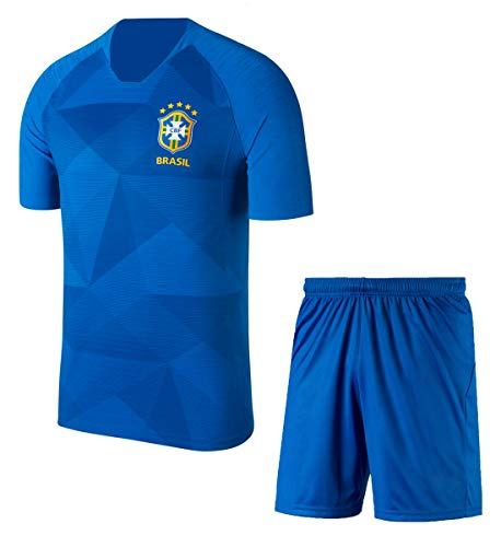 You Know Me Brazil Football Jersey Blue (Large (Chest 40), Blue)