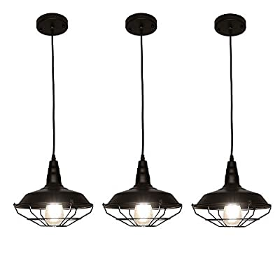 LynPon Industrial Barn Pendant Light, Rustic Hanging lamp, Black Cage Ceiling Light Fixture, Kitchen Island Restaurant Dining Room Farmhouse Lighting, 3 Pack