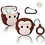 Koreda Airpods Pro Case Cover Cute Cartoon, Funny Cartoon 3D Airpods Design, Fun Fashion Silicone Protective Cover Case Compatible for Kids Girls Boys Character Skin Keychain Airpod 3 (Brown Monkey)