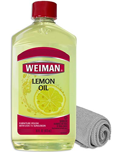 Weiman Lemon Oil for Wood & Microfiber Cloth - UV Protection, Gently Cleans, Protects, Moisturizes, Restores and Conditions Wood