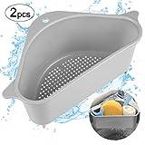 Alphatool 2pcs Triangle Sink Storage Holder- Multifunctional Triangular Drain Shelf Storage Rack Sponge Holder with Suction Cup for Kitchen Bathroom Sink Corner Hanging Basket Shelf (Grey)