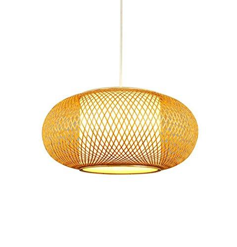 Lustre en bambou Vintage, lampe de salon en bambou fait à la main Lumières de balcon simple décoration d'hôtel Lampe de chambre à coucher ingénierie Restaurant Lumières E27, 40 / 50cm fil suspendu 150cm ( Couleur : Couleur du bois , taille : 40*19CM )