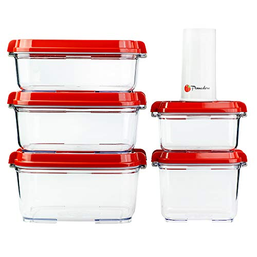 Pomodoro Food Storage Vacuum Seal Containers with Automatic Vacuum Sealer Pump - Preserve Food Longer Stackable Airtight Great for Marinating Meat Food 5-Piece  Pump