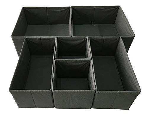 Sodynee Foldable Cloth Storage Box Closet Dresser Drawer Organizer Cube Basket Bins Containers Divider with Drawers for Underwear Bras Socks Ties Scarves 6 Pack Grey