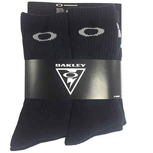 Oakley 5 Pack Crew Socks, Black, Medium